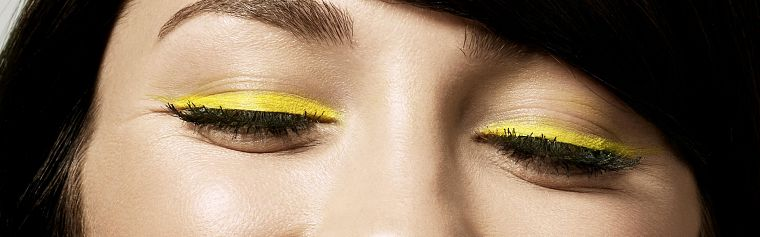 close-up, eyes, yellow, eye shadow - desktop wallpaper