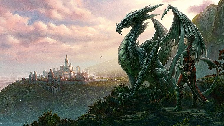 women, landscapes, wings, dragons, fantasy art, artwork, Kerem Beyit - desktop wallpaper