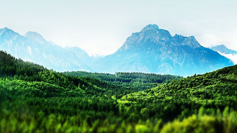 mountains, landscapes, forests, Bavaria, tilt-shift - desktop wallpaper