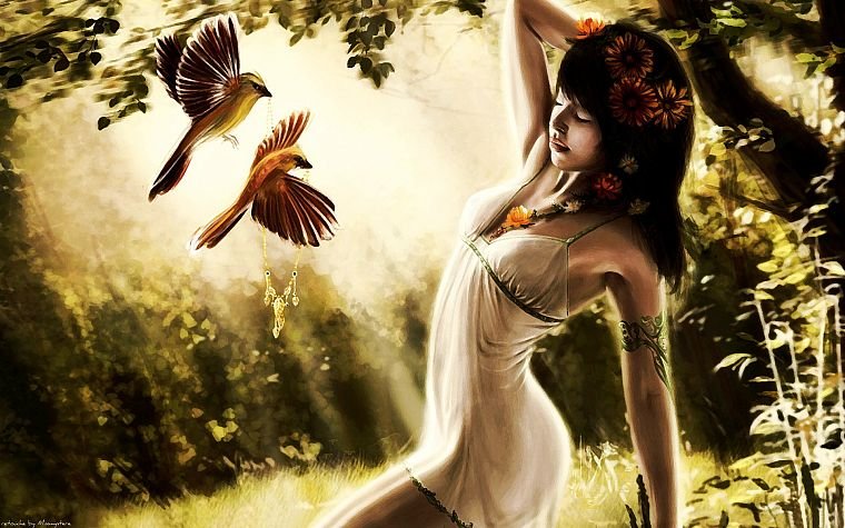 brunettes, tattoos, nature, birds, artwork, white dress, flower in hair - desktop wallpaper
