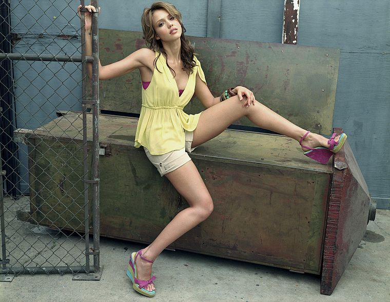 women, Jessica Alba, actress, chain link fence - desktop wallpaper