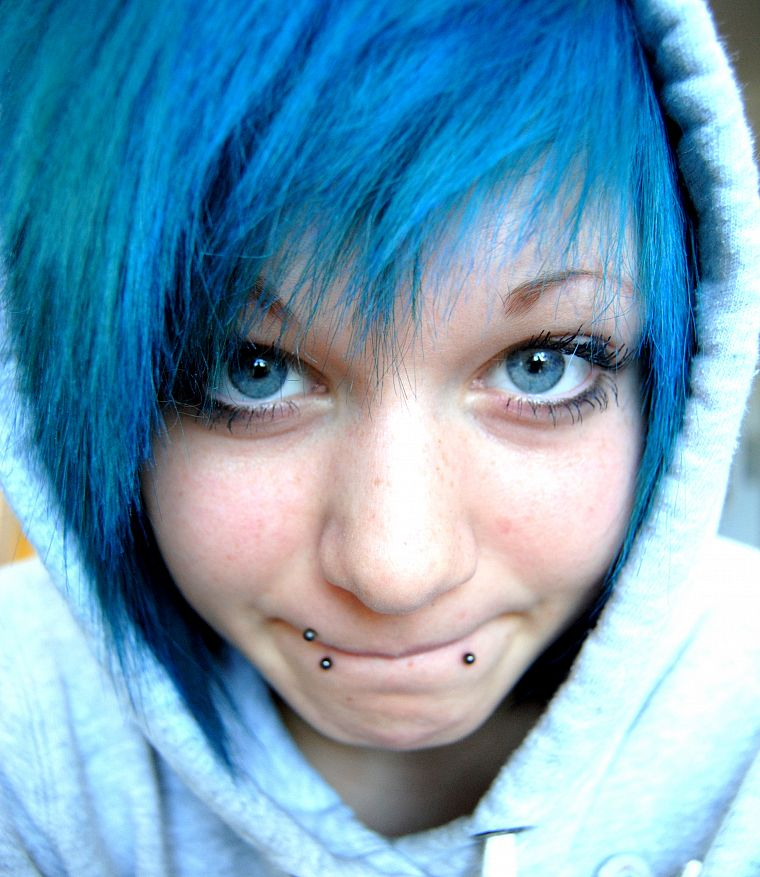 blue, blue hair, piercings - desktop wallpaper