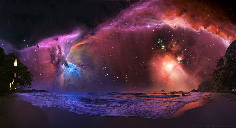 sunset, outer space, trees, stars, galaxies, nebulae, andromeda, science fiction, vacation, beaches - desktop wallpaper