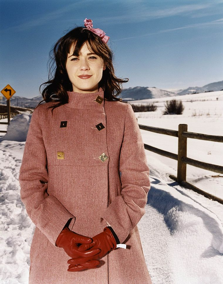 brunettes, snow, Zooey Deschanel - desktop wallpaper