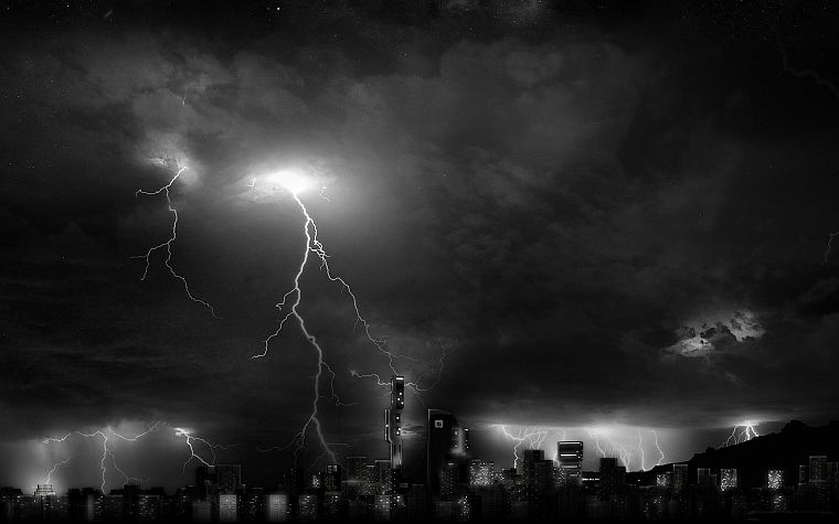 skylines, grayscale, lightning - desktop wallpaper