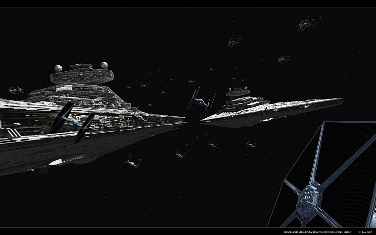 Star Wars, spaceships, Tie fighters, Star destroyers, Tie interceptors - desktop wallpaper