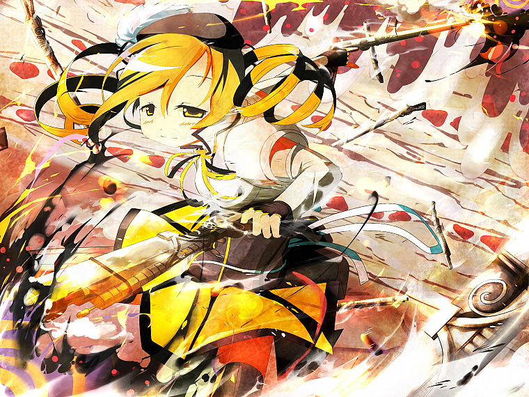 blondes, rifles, guns, gloves, stockings, fight, skirts, long hair, ribbons, corset, thigh highs, yellow eyes, battles, Mahou Shoujo Madoka Magica, blush, Tomoe Mami, curly hair, anime, action, hats, anime girls, detached sleeves, hair ornaments, bangs, b - desktop wallpaper