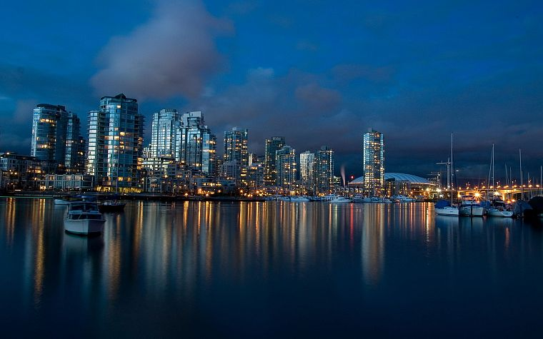 water, coast, skylines, architecture, ships, buildings, Vancouver, vehicles - desktop wallpaper