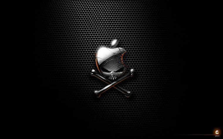 Apple Inc., skull and crossbones, logos - desktop wallpaper