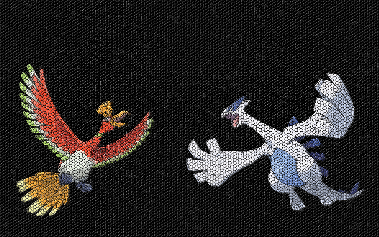 Pokemon, mosaic, Lugia, Ho-oh - desktop wallpaper