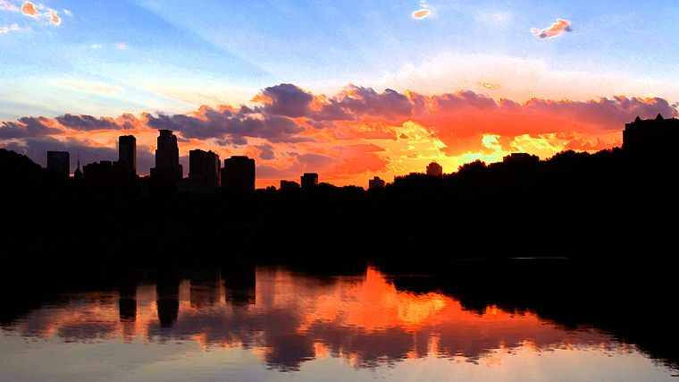 water, sunset, clouds, silhouettes, reflections, cities, skies, Minneapolis - desktop wallpaper
