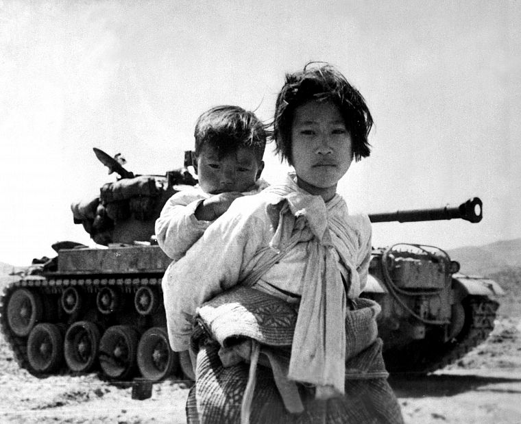 war, tanks, monochrome, korean war, children - desktop wallpaper