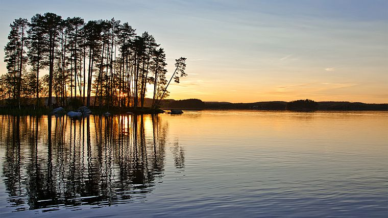 water, sunset, landscapes, nature, trees, lakes, reflections - desktop wallpaper