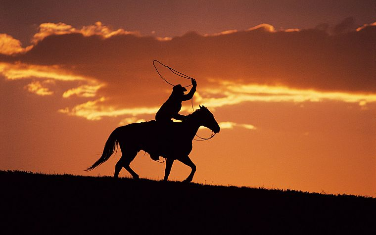 sunset, silhouettes, cowboys, horses, western - desktop wallpaper