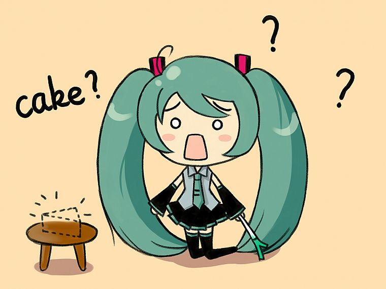 Vocaloid, Hatsune Miku, chibi, long hair, thigh highs, green hair, twintails, open mouth, Hachune Miku, detached sleeves, hair ornaments, Vocaloid Fanmade, cakes - desktop wallpaper