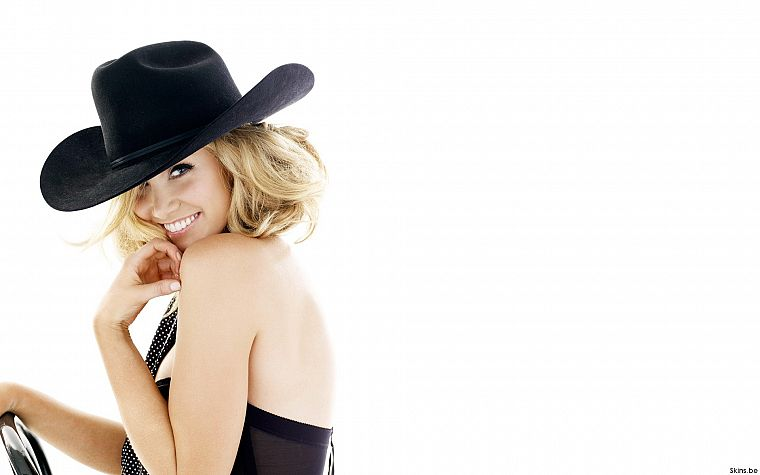 Delta Goodrem, singers, Australian, simple background, cowboy hats, white background - desktop wallpaper