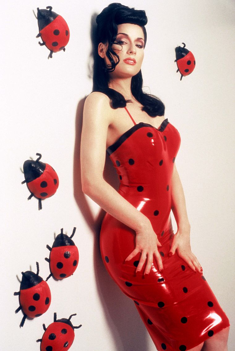 brunettes, women, Dita Von Teese, latex, standing, polka dots, latex dress, lady bugs - desktop wallpaper