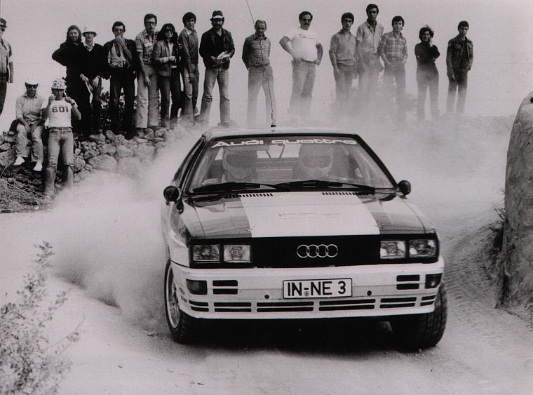 cars, Audi, dust, rally, grayscale, vehicles, racing, Audi Quattro, races, Quattro, rally cars, German cars, racing cars, rally car - desktop wallpaper