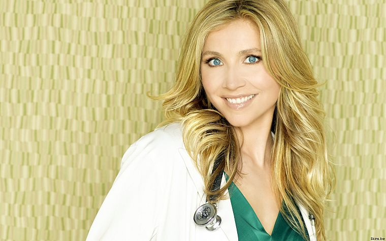 blondes, women, actress, Scrubs, Sarah Chalke, Elliot Reed, stethoscopes - desktop wallpaper