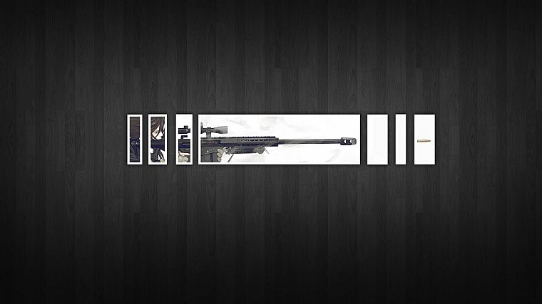 minimalistic, snipers, Gunslinger Girl, simplistic, wooden floor - desktop wallpaper