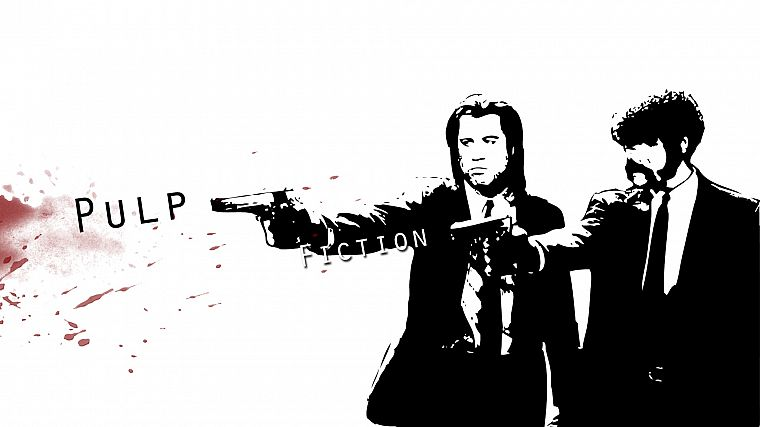 movies, Pulp Fiction, Samuel L. Jackson, John Travolta - desktop wallpaper