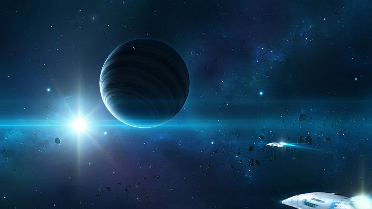 outer space, stars, planets, spaceships, asteroids - desktop wallpaper