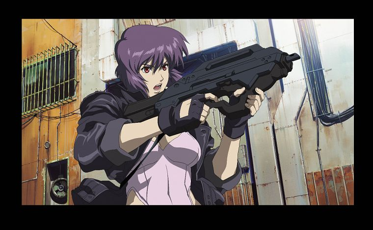 Guns Motoko Kusanagi Purple Hair Ghost In The Shell Free Wallpaper Wallpaperjam Com