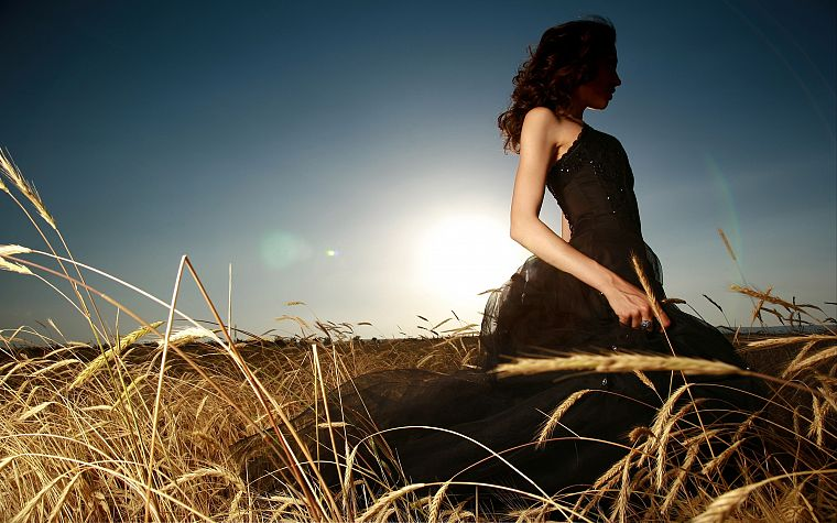women, fields, black dress - desktop wallpaper