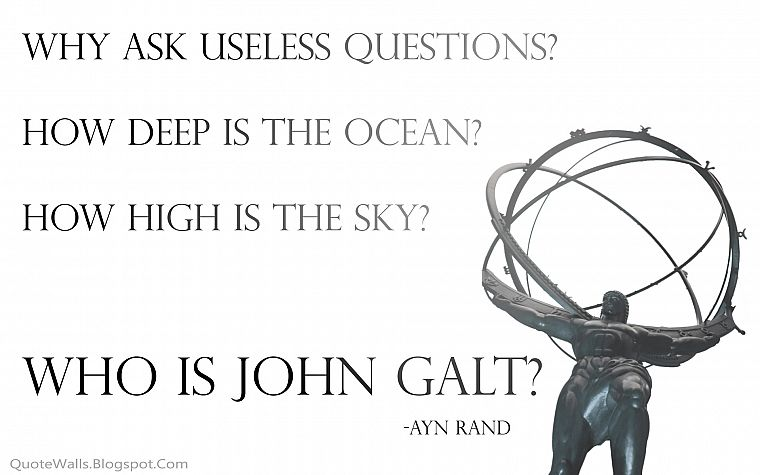 Ayn Rand, Atlas Shrugged, John Galt - desktop wallpaper