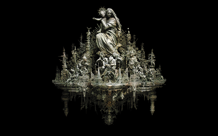 sculptures, Christianity, kris kuksi, black background, Magi - desktop wallpaper