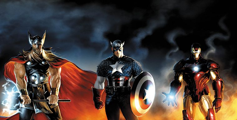 Iron Man, Thor, Captain America, Marvel Comics - desktop wallpaper