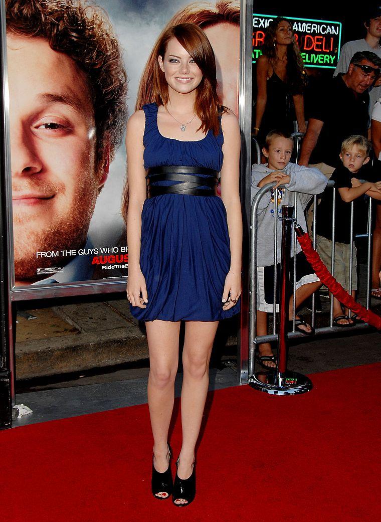 Brunettes Women Actress Celebrity Emma Stone Red Carpet Blue Dress Free Wallpaper Wallpaperjam Com