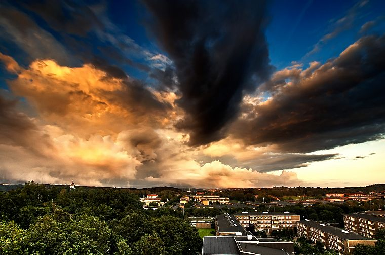 clouds, HDR photography, skyscapes, cities - desktop wallpaper
