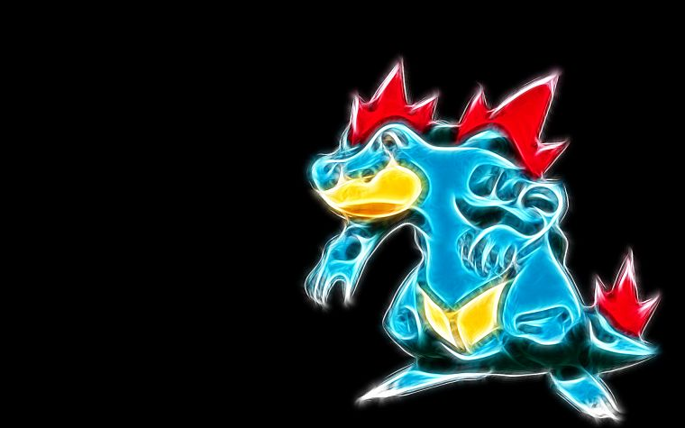 Pokemon, Feraligatr, black background - desktop wallpaper