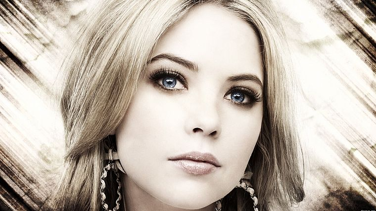 blondes, women, eyes, models, lips, Pretty Little Liars, selective coloring, Ashley Benson - desktop wallpaper