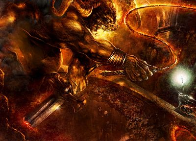 Balrog, Gandalf, The Lord of the Rings, artwork, The Mines of Moria, The Fellowship of the Ring - random desktop wallpaper