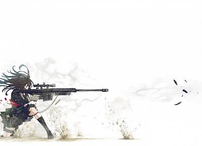 school uniforms, sniper rifles, anime, simple background, Kozaki Yusuke, butterflies, original characters - desktop wallpaper