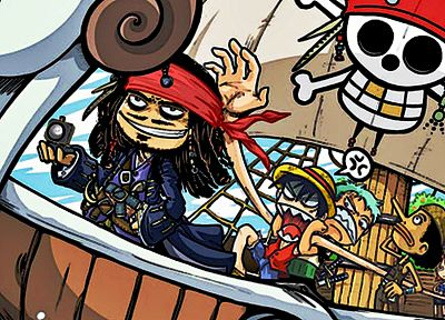 cartoons, One Piece (anime), funny, Roronoa Zoro, Pirates of the Caribbean, artwork, crossovers, Captain Jack Sparrow, Monkey D Luffy, Nami (One Piece), Sanji (One Piece) - desktop wallpaper