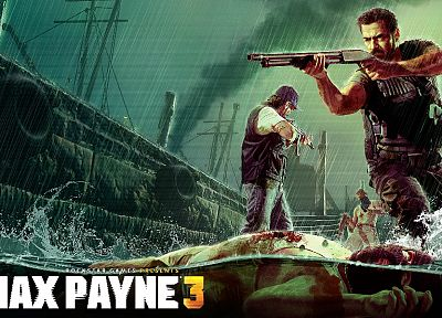 video games, rain, men, shotguns, artwork, Max Payne 3 - desktop wallpaper
