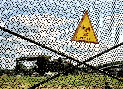 signs, Chernobyl, radioactive, Ukraine, cemetery, chain link fence - random desktop wallpaper