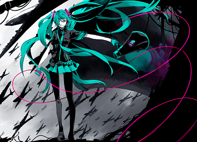 women, aircraft, Vocaloid, gloves, Hatsune Miku, skirts, long hair, Love is War, pantyhose, twintails, shirts, aqua eyes, aqua hair, anime girls, armbands, wires, megaphones, hair ornaments, bangs, black pantyhose - desktop wallpaper