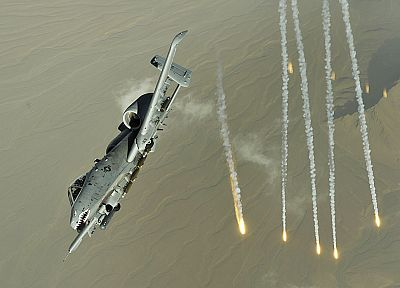 aircraft, military, flares, A-10 Thunderbolt II - desktop wallpaper