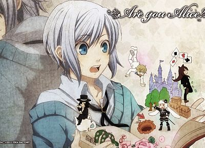 blue eyes, anime, manga, white hair, Are You Alice?, Alice (Are You Alice?), Mad Hatter (Are You Alice?), Cheshire Cat (Are You Alice?), White Rabbit (Are You Alice?), Humpty Dumpty (Are You Alice?), Rose (Are You Alice?) - random desktop wallpaper