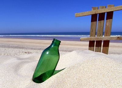 sand, fences, bottles, beaches - random desktop wallpaper