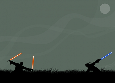 Star Wars, lightsabers, silhouettes, simplistic - related desktop wallpaper