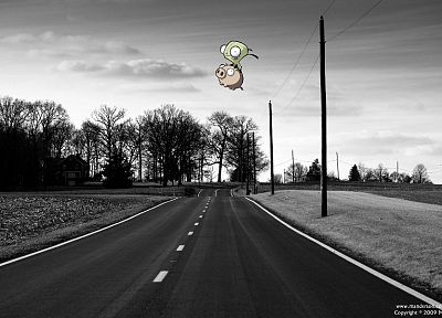 trees, Invader Zim, roads, pigs, Gir, selective coloring - desktop wallpaper