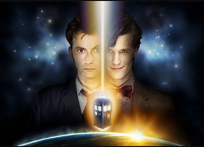 TARDIS, David Tennant, Matt Smith, Eleventh Doctor, Doctor Who, Tenth Doctor - related desktop wallpaper