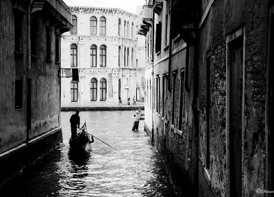 cityscapes, buildings, grayscale, Venice - random desktop wallpaper