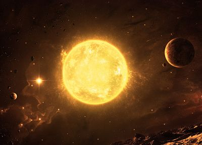 Sun, outer space, stars, planets, inferno, asteroids - desktop wallpaper