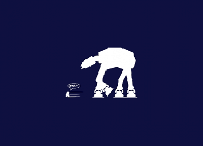 Star Wars, blue, R2D2, AT-AT - desktop wallpaper